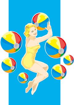 Beach ball girls
