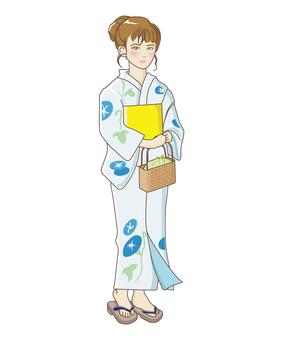 A woman wearing a yukata