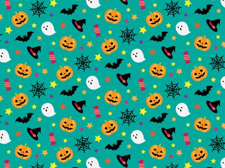 Halloween seamless pattern_green