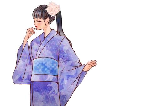 Yukata beautiful woman (without background)