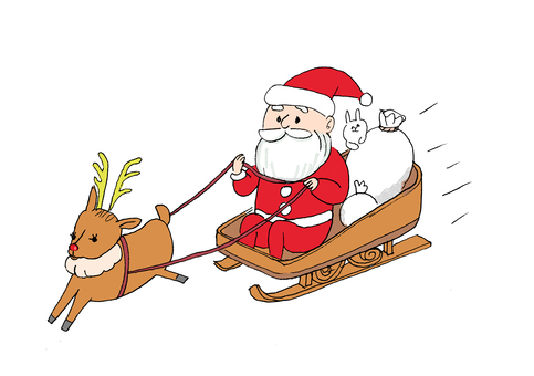 Santa Claus and sleigh