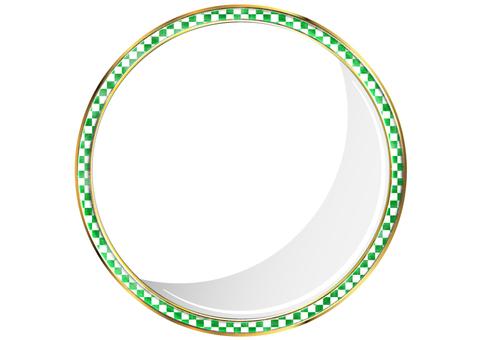 綠色方形方形圖案圓形框架