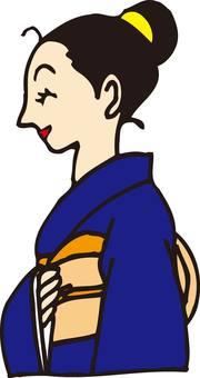 Monna, inn, woman, kimono