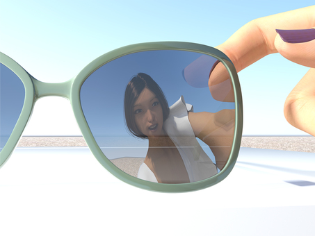 hot summer! The appearance of a woman reflecting on sunglasses