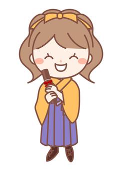 Hakama graduation ceremony girl · orange