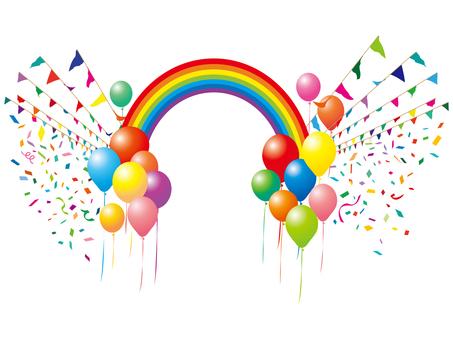 加兰旗帜体育气球气球气球彩虹图标