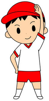 Red gym clothes boy