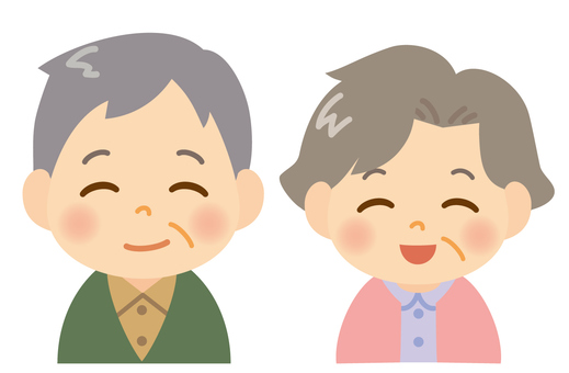 A smiling old couple