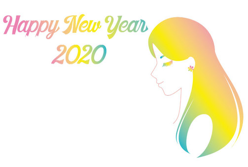 New Year's card female gradation 01