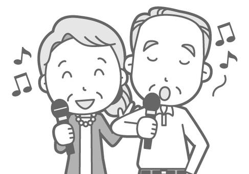 Elderly couple - Karaoke - Bust black and white