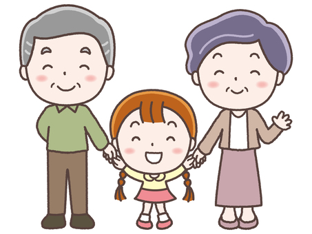 Old couple and grandchild