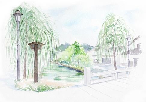 透明水彩で描く 柳と川と橋がある風景