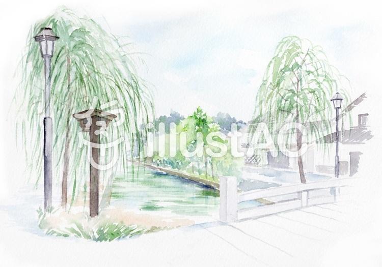 透明水彩で描く 柳と川と橋がある風景イラスト No 1194337無料