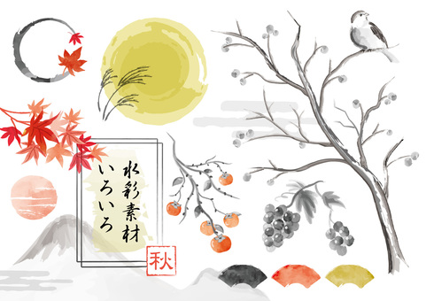 Autumn watercolor Japanese style material