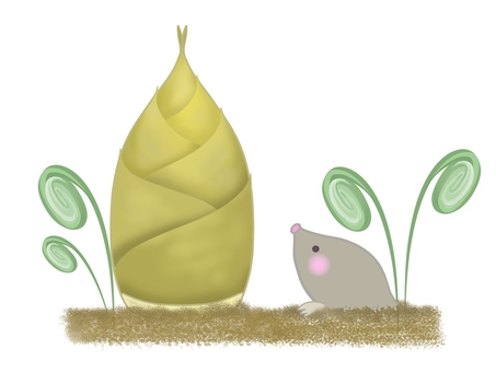 Illustration of bamboo shoot, spring, and mole