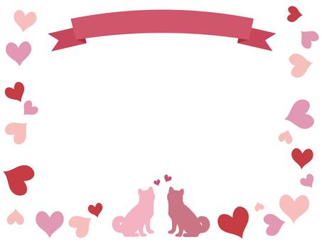 Ribbon and dog frame Heart pink