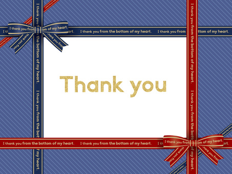 Ribbon Message Card (Blue) 01