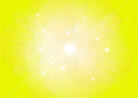 Oval round ball and rays - Yellow