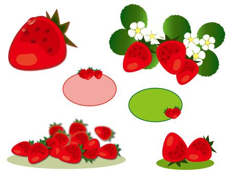 Various sets of strawberries