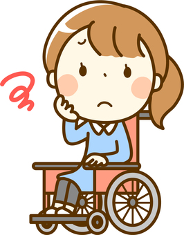 Wheelchair girl in troubled look