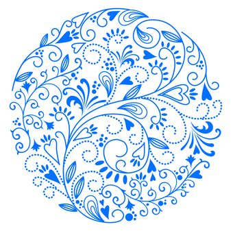 꽃 무늬 - 엔 블루