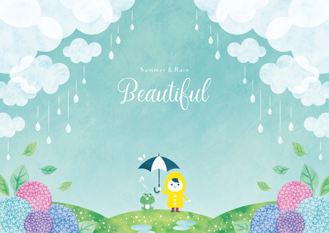 Summer background frame 042 rainy season watercolor