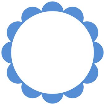 Flower round frame blue label transparent