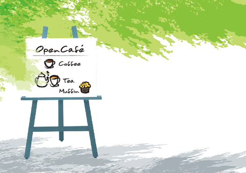 Open cafe illustration fresh green