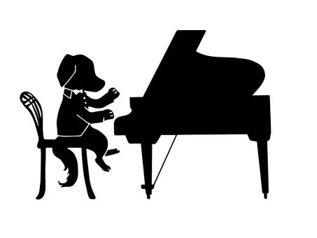 Piano and dog (silhouette)
