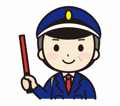 Middle-aged male security guard with induction stick