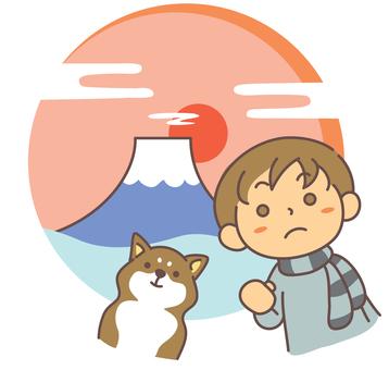 新年的決心Boy and Shiba Inu
