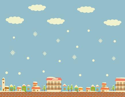 Snowy day skyline