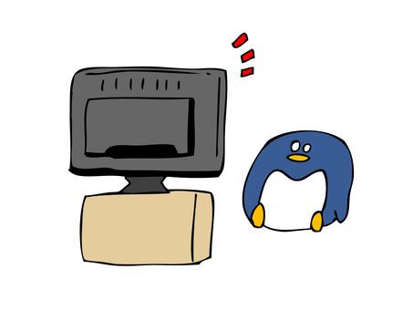 Penguin watching TV