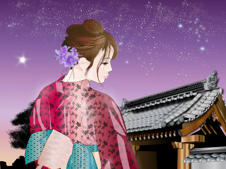 A landscape with a woman with a yukata in front of a shrine