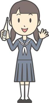 Junior high school sailor woman-286-whole body
