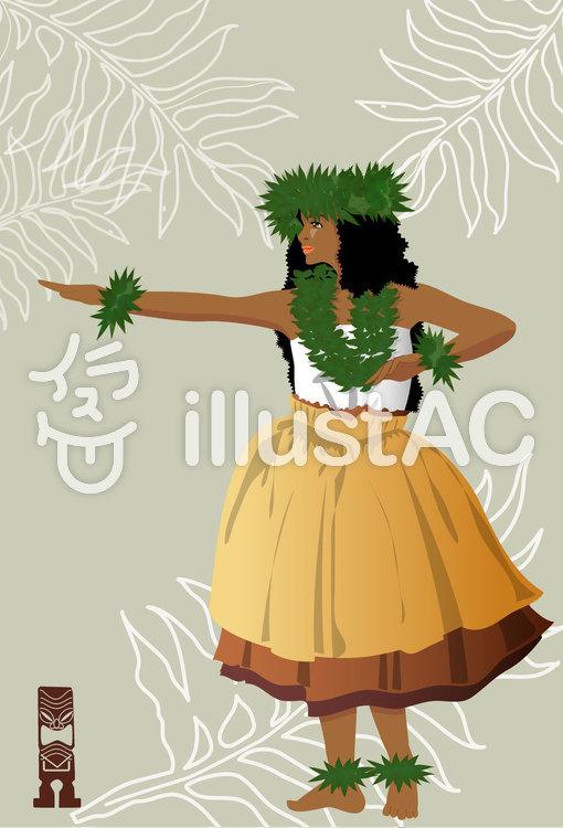 古代ハワイアンのポストカードのイラスト