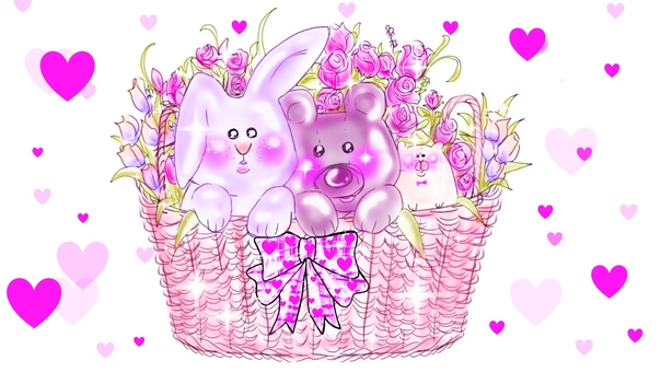 Dolls in the basket (Pink)