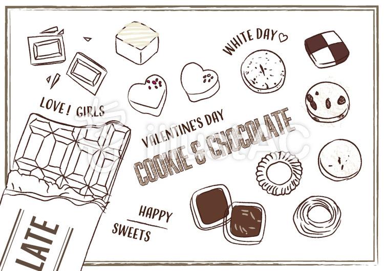 手書き お菓子 チョコレート クッキーイラスト No 1351426無料
