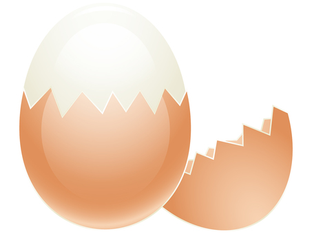 Illustration of peeling half of shell of egg by ai