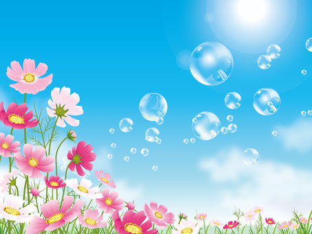 Soap bubble floating in cosmos field blue sky background 01