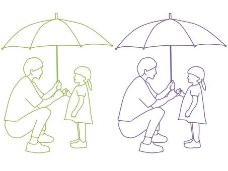 Parent and child 3 who have an umbrella
