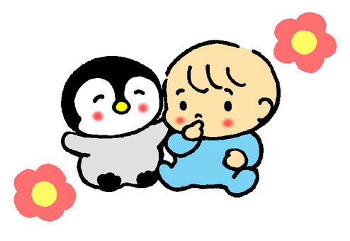 Baby and penguin chick