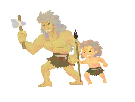 Primitive father and son go hunting