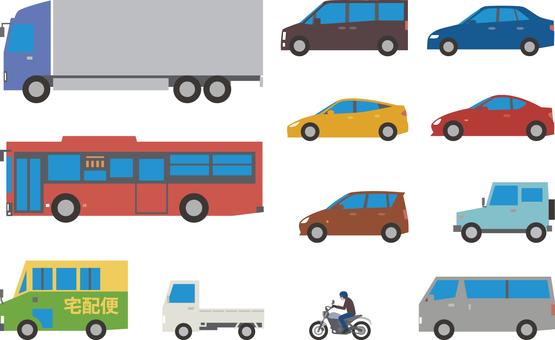 Truck, bus, private car, bike etc. set
