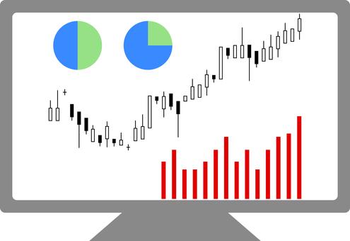 股票圖表餅圖條形圖監視器