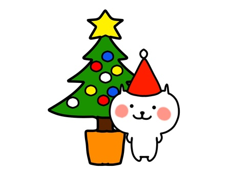 Christmas tree and cat 1