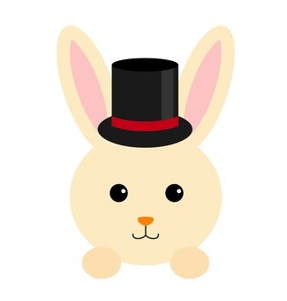A rabbit wearing a hat