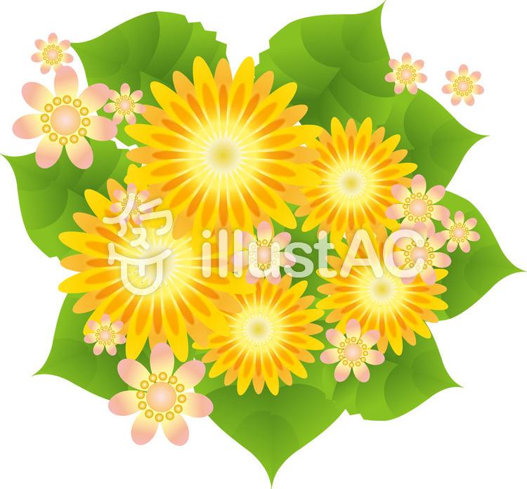 黄色い花とかわいい花3イラスト No 213842無料イラストなら