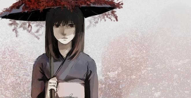 Dark kimono woman