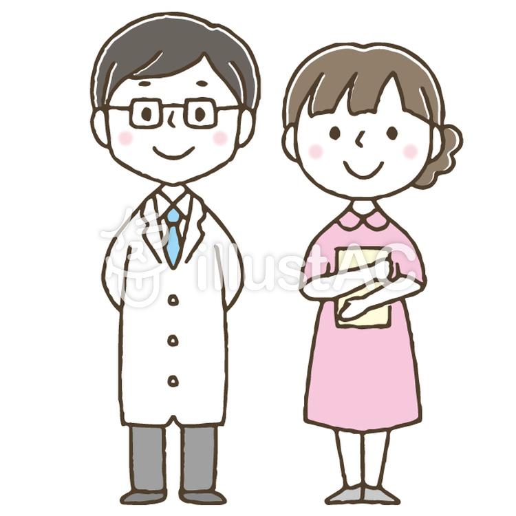 医師と看護師 かわいい 手描き 医者イラスト No 無料イラストなら イラストac